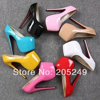 2014 newest  very sexy and china factory patent leather cheap price nightclub women 18cm super high heels