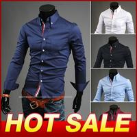 New 2014 Men Long-Sleeve Shirt Slim Casual Dress Men's Clothing Designer Size M-XXXL 5Colors fashion Cotton Shirts Camisas X127