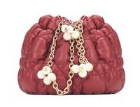 Sweet Lady Bag Elegant Women Bags Decoraed With Peal & Chain Handbag PU Shoulder Bag For Women Free Shipping