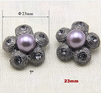 23mm High quality flower shape purple pearl buttons with rhinestone,nice buttons for mink,sewing button for scrapbooking(ss-1647