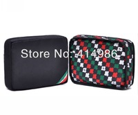 Free shipping 2014 new black front and black available classic  cosmetic makeup bag travel wash bags  HZB066