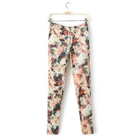 HROS Recommend 2014 fashion flower print slim all-match skinny pants casual pants women's Printed Fashion pencil pants Flower