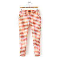 HROS Recommend 2014 Spring Fashion personality stretch cotton plaid casual pants Elasticity trousers female Pink Grip Pant