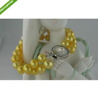 double strand 8-9mm south sea golden pearl bracelet flower clasp 7.5-8''