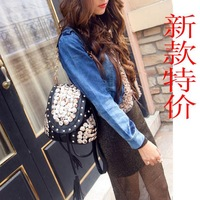2014 new handbag women shoulder bag handbags rivet buttons tassel shoulder bag diagonal package package three wholesale
