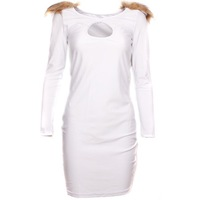 Elegant Women Hollow Out O-neck Long Sleeve Slim Bandage Bodycon Dress 1pc/lot Shoulder With Fur White 3 Sizes 654186