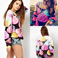 New 2014 Fashion  Women Harajuku 3D Sweatshirt Flower Rose Print Long Sleeve tops Women  pullover Hoodies #NS024