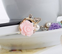 Sample Free Shipping! Pink Rose Flower Dust Proof Phone Plug Cover Charm For samsung S3 3.5mm earphone iphone 3s 4s HTC