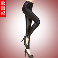 Free shipping Fashion Sexy Shiny Metallic High Waist Black Stretchy Leather Leggings Pants