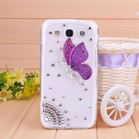 10Pcs/Lot Diamond Wizard butterfly Rhinestone Case for Samsung GALAXY s3 Case for i9300 SIII Simple Mobile Phone Shell Wholesale