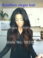 "Full Lace Wig 100% Brazilian Virgin Human Hair T color 1b/4# 12""-24"" Body Curl 130% Free DHL"