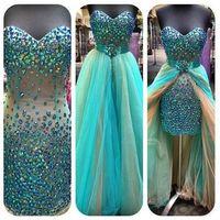 2014 New fashion blue crystal beaded sheath detachable train customized evening party dress JO158 sweetheart dresses