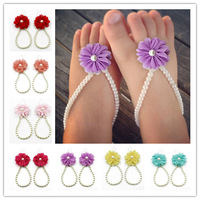 Baby Barefoot Sandals Shoes For Girls Newborn summe Chiffon Flower Sandals Baby Girl Baptism Gift, Christening Gift