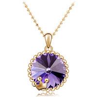 New 2014 promotional Austrian crystal - Short  Crown Pendant Necklace 0
