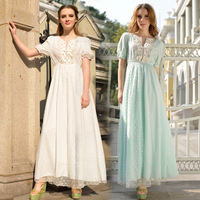 Promotion casual maxi long dresses women summer dress new 2014 spring vintage embroidery lace dress blue white belt
