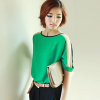 2014 summer women's chiffon short-sleeve shirt plus size loose haircord color block decoration chiffon top