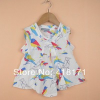 New Arrival! Summer Cool Baby Girls Shirt Blouse Cute Woodpecker Birds Full Printed Kids Blouse Tops High Quality 6pcs/lot