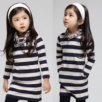 Free shipping 2014 spring and autumn stripe girls clothing baby child long-sleeve dress qz-1199