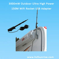 Free shipping fo  Water Proof Max Distance Outdoor WIiFI Adapter High Power rocket wireless network Card with 13dBi Directiona