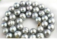 18inch AAA+ 11-12MM South Sea gray Baroque Pearl Necklace 14k GOLD CLASP