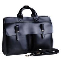 2014 New Vintage Black Color Genuine Leather Briefcase For Men Laptop 14 Inch Shoulder Bag Handbag Business Man Messenger Bag
