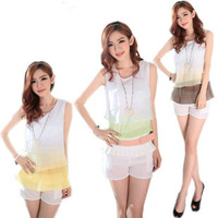 2014 New Summer multicolor level Fashion sleeveless Chiffon shirt Flounced skirt vest Free Shipping