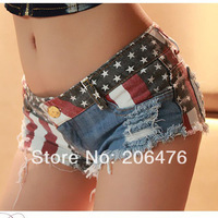 2014 summer Frosted hole denim shorts women short jeans hot print pants wholesale