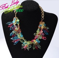 2014 new arrival fashion big crystal flower statement luxury new design brand for women choker necklace 3701