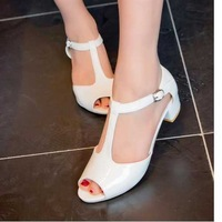 2014 Fashion Women Summer Mid Heel Shoes Brand New Gladiator Buckle Straps Open Toe Chic Sandals ALD036