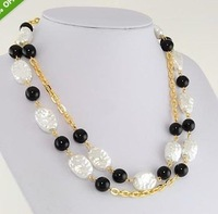 "41"" White Dimpled Faux Pearl & Black Bead 14kt Gold Ep Necklace"