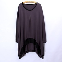 New Fashion Women European&American flouncing  style long sleeve Loose solid T-shirt  2014Spring&Summer Plus size
