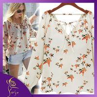 Summer 2014 Women's Double V-neck Bow Shirts,Sweet Temperament Korean Plus Size Long Sleeve Blouse, Bird Printed Casual Dress