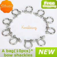 New 10pcs/set Bracelet Bow Shackle Shaped Stainless steel Paracord 4mm Survival M4 Shackles
