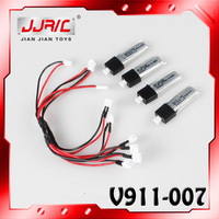 Free Shipping WL V911 RC Helicopter Spare Parts including 4pcs/lot Original Battery and Two Electricity Charger Wire For V911
