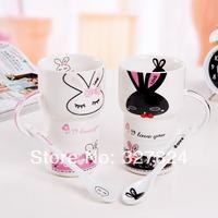 Cute Cartoon Rabbit Pattern Ceramic Mug with Spoon free shipping