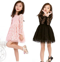 2014 retail 1 set spring & autumn children dress for baby girl 2colors lace dresses princess dresses high quality
