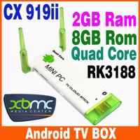 Dual Antenna Stronger Signal CX-919 II Quad Core Mini PC RK3188 Android 4.2 Smart TV Stick 2GB/8GB WiFi HDMI Bluetooth XBMC J22