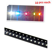 50Pcs 1206 SMD SMT Super Bright LED Lamp White Red Blue Yellow Green(each 10pcs)