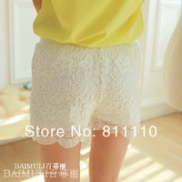 Trend Knitting 2014 Summer New fashion Women's pants Lace Printing embroidery Wavy edge Crochet double Casual Shorts 2 Colors