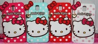 Free Shipping! Retail 3D Hello kitty soft Back Cover Phone silicon Case For Samsung Galaxy Note 2 II N7100 Note 3 III N9000