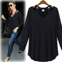 Free Shipping! 2014 Spring Fashion Plus size Women Long-sleeve T-Shirts,Female Slim Strapless Casual Cotton Tops XL XXL XXXL 4XL