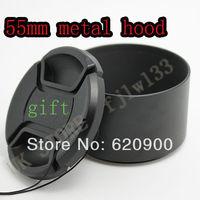 100% GUARANTEE 55MM METAL Lens Hood & Cap for Canon T4i T3i 7D 50D 60D 18-135mm 17-85mm Lens