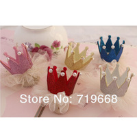 New Arrival in Stock!24pcs/lot 5colors handmade glitter crown WITHOUT CLIP for baby girl children hair ornament  DIY accessories