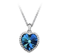 2014 New Neoglory Titanic Ocean Heart Pendant Necklace For Women Crystal Rhinestone Jewelry Accessories Gift New Sale