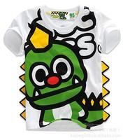 Retail Children Boy's t shirt 100% Cotton Dinosaur Print Cartoon T-shirt Kids Boys Summer Short sleee top Tees