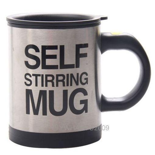 New Black Stainless Plain Lazy Self Auto Mixing Tea Cup Self Stirring Mug Coffee Soup Hot 95265(China (Mainland))