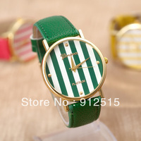 5pcs/lot Free Shipping New 2014 Fashion Women Dress Watches  Geneva Color Stripes Watches  Leather Watches 100% Quartz Watches