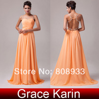 Free Shipping Stock Floor-Length Backless Chiffon Long Evening Dress Formal Prom Party Gown 2014 CL6025