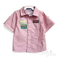 Loz , fashion child 100% cotton short-sleeve shirt male child stripe casual shirt