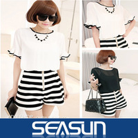 2014 Spring European style flounced sleeve loose contrast color chiffon shirt and Shorts clothing set